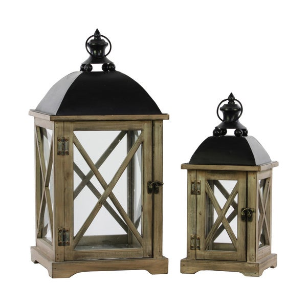 natural wood finish cast iron top wooden lantern with metal handle and glass sides set of 2. Black Bedroom Furniture Sets. Home Design Ideas