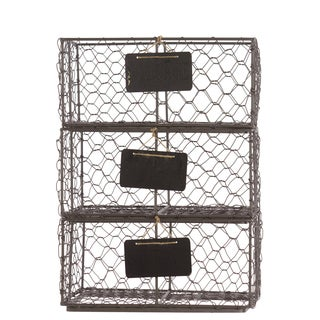 Bronze Metal Wire Basket with Mesh Sides and Name Tags