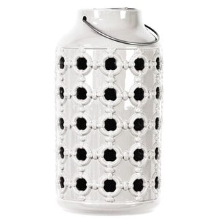 Gloss White Ceramic Lantern with Metal Handle and Porthole Design