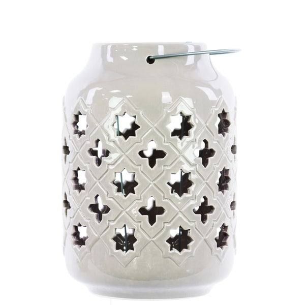 Gloss White Ceramic Lantern with Metal Handle Octagram and 4-point Star Design