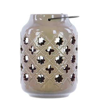 Gloss Tan Ceramic Lantern with Metal Handle Octagram and 4-point Star Design