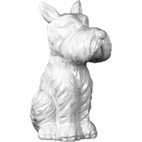 Shop Ceramic Sitting Welsh Terrier Dog With Pricked Ears Gloss White