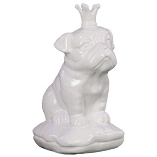 Gloss White Ceramic British Bulldog with 5 Spiked Crown Sitting on a Cushion