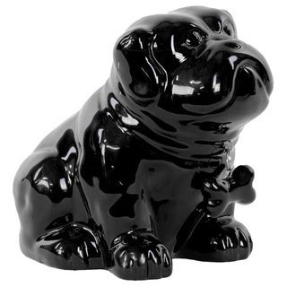 Gloss Black Ceramic Sitting Bulldog Puppy Coin Bank with Bone Pendant on Dog Collar