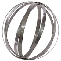 Metallic Grey Metal Orb Dyson Sphere Design Decor Small