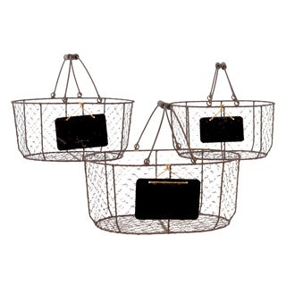 Rust Metal Wire Basket Oval with Mesh Sides Wood Handles and Black Name Plate (Set of 3)