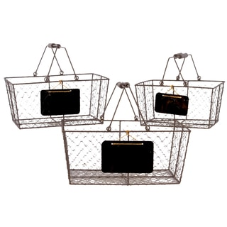 Rust Metal Wire Basket Rectangular with Mesh Sides Wood Handles and Black Name Plate (Set of 3)