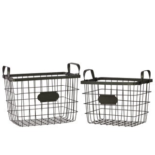 Black Metal Wire Basket with Mesh Sides Handles and Card Holders (Set of 2)