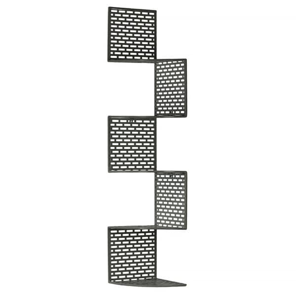 Dark Grey Metal Corner Shelf with 5 Tiers and Perforated Surface and Backing Large