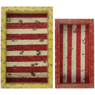 Distressed Red and Yellow Wood Shadow Box with Striped Red Backing (Set of 2) Distressed Red and Yellow