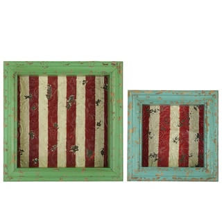 Distressed Lime and Light Cyan Wood Shadow Box with Striped Red Backing (Set of 2) Distressed Lime and Light Cyan
