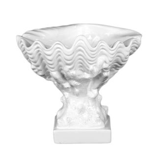 Gloss White Ceramic Open Valve Clam Seashell on Coral Pedestal