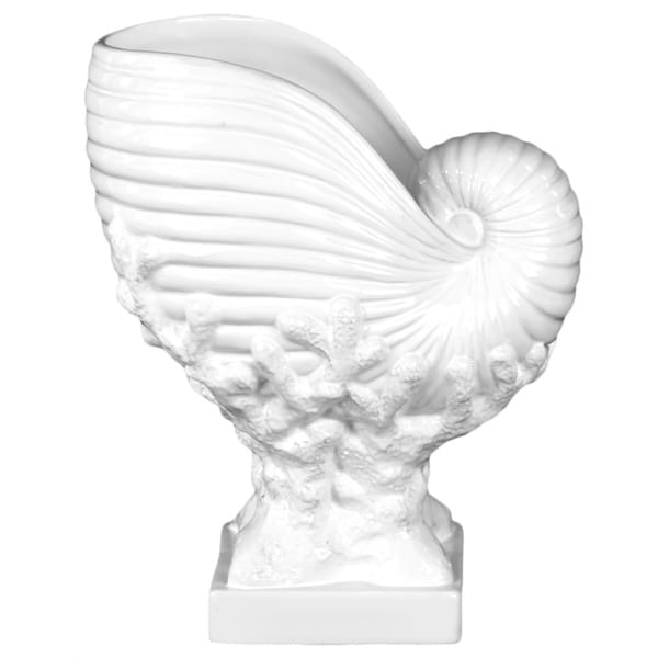 Urban Trends Collection Ceramic Nautilus Seashell on Coral Pedestal Gloss White