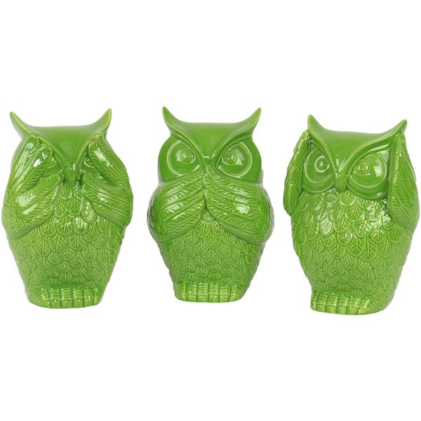 Gloss Lime Green Ceramic Owl No Evil (Set of 3)