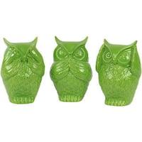 Gloss Lime Green Ceramic Owl No Evil (Set of 3)