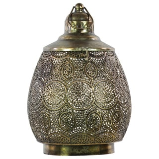 Pierced Gold Metal Lantern with Ring Handle and Hinged Lid Large