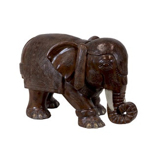 Stained Wood Finish Resin Indian Elephant Dark Brown