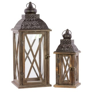 Natural Wood Finish Wood Square Lantern with Black Pierced Metal Top, Ring Hanger and Glass Windows (Set of 2)