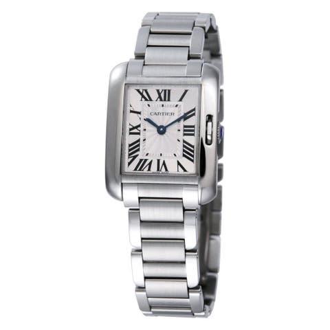 Cartier Men's Tank Anglaise Rectangle Silver-Tone Bracelet Watch