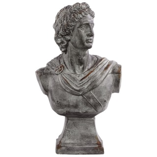 Distressed Concrete Grey Fiberstone Greek Deity Apollo Bust on a Pedestal Distressed Concrete Grey