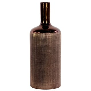 UTC11184: Ceramic Round Bottle Vase with Engraved Criss Cross Designed Body and Smooth Neck LG Copper