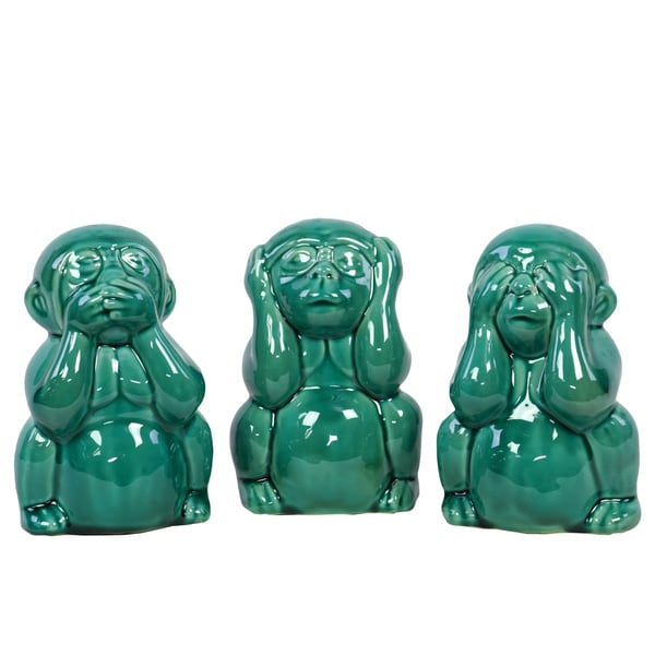 Aquamarine Ceramic Monkey No Evil (Set of 3)