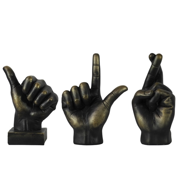 Bronze Fiberstone Sign Language Hand Decor (Set of 3)