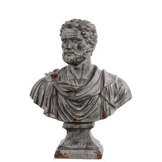 Distressed Concrete Grey Distressed Concrete Grey Fiberstone Roman Emperor Adrian Bust on a Pedestal
