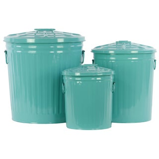 Blue Metal Storage with Classic Garbage Can Design (Set of 3)