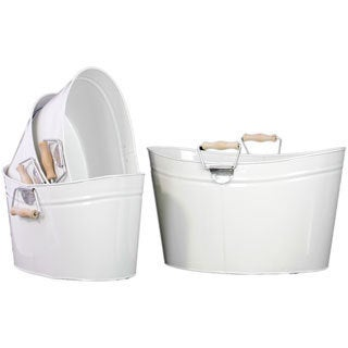 White Metal Oval Bucket With Wood Handle (Set of 4)