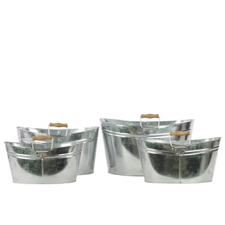 Zinc Metal Oval Bucket with Wood Handle (Set of 4)