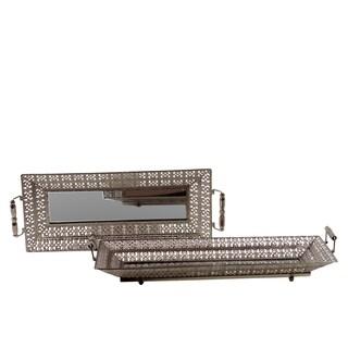 Pierced Chrome Silver Metal Mirrored Trays (Set of 2)