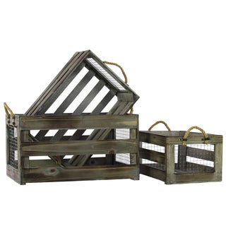 Tinted Wood Finish Wooden Storage Box with Mesh Sides and Rope Handles (Set of 3)