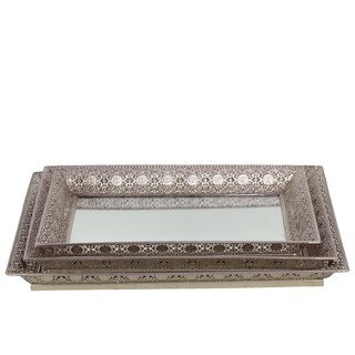 Pierced Chrome Silver Metal Pierced Mirrored Trays (Set of 3)