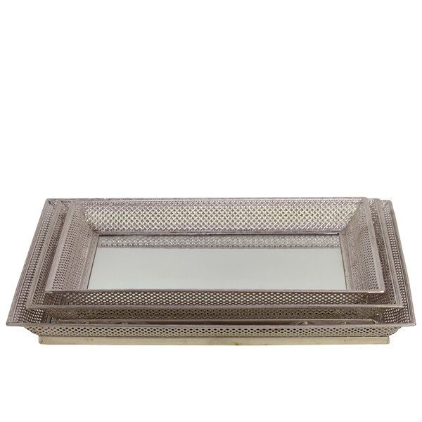 Pierced Chrome Silver Metal Mirrored Trays (Set of 3)