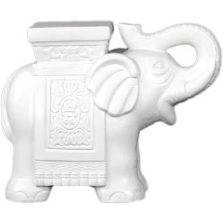 Ceramic Matte White Finish Standing Trumpeting Elephant Figurine with Flat Top Mount
