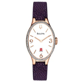 Bulova Women's 98R198 Analog Quartz Diamond Gallery Purple Leather Watch