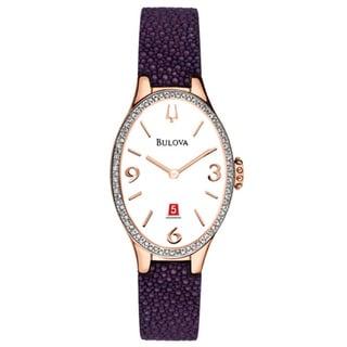 Bulova Women's 98R198 Analog Quartz Diamond Gallery Purple Leather Watch