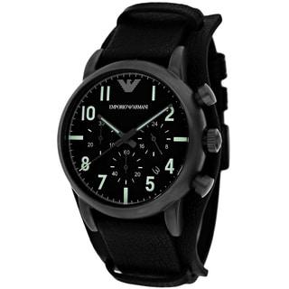 Armani Men's AR1830 Classic Round Black Strap Watch