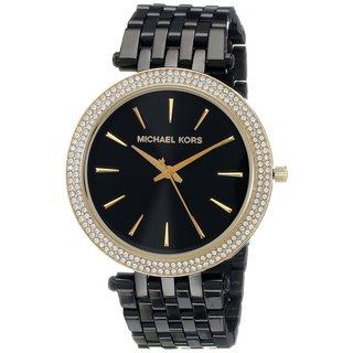 Michael Kors Women's 'Darci' Crystal-set Black Ion-plated Stainless Steel Watch