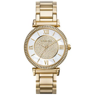 Link to Michael Kors Women's MK3332 'Catlin' Crystal-set Mother of Pearl Dial Gold-plated Watch Similar Items in Women's Watches