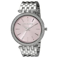 Michael Kors Women's MK3352 'Darci' Crystal-set Pink Dial Stainless Steel Watch
