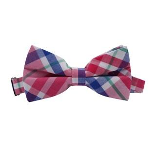 Skinny Tie Madness Men's Cotton Plaid Pretied Bowtie