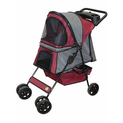Go Pet Club Maroon/Silver Pet Stroller
