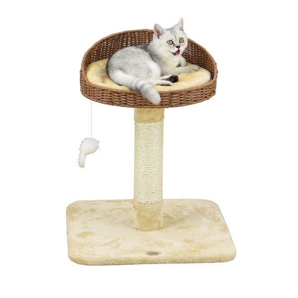 Go Pet Club 24-inch Wicker and Faux Fur Cat Tree