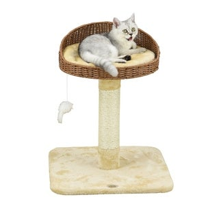 Go Pet Club 24-inch Wicker and Faux Fur Cat Tree