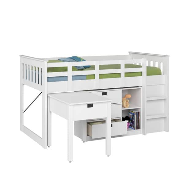 Shop Taylor Olive Christian Twin Loft Bed With Desk And Storage Overstock 9756119 White