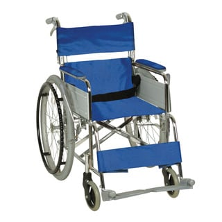 CFG Blue Steel Manual Wheelchair With Attendant-operated Brakes