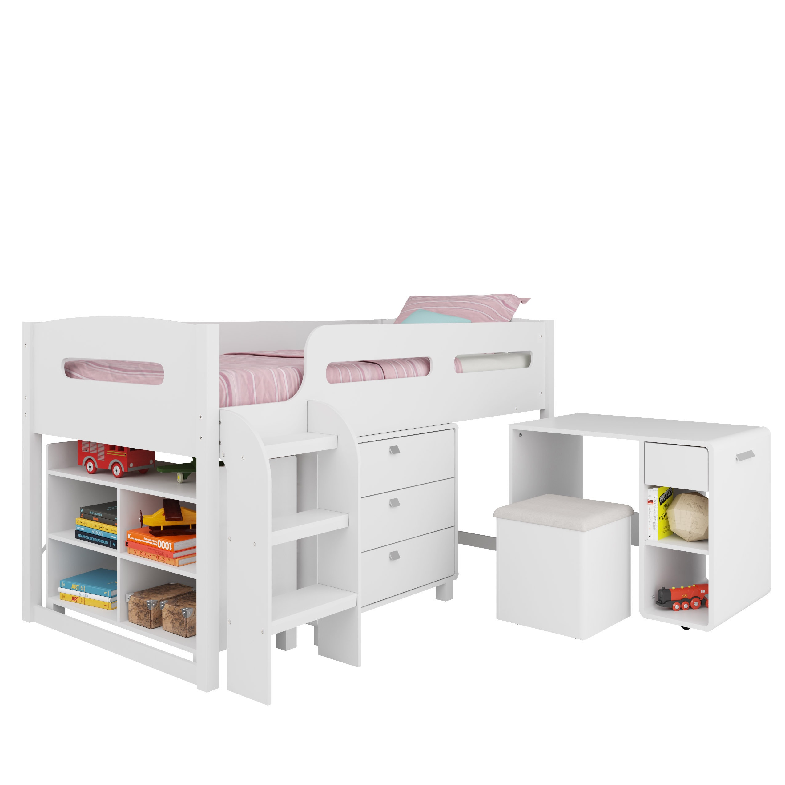 CorLiving Madison 5-piece All-in-One Twin Loft Bed (White...