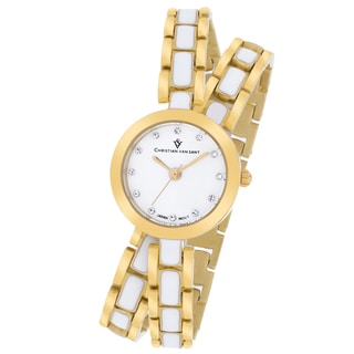 Christian Van Sant Women's CV5612 Spiral Round Two-Tone Bracelet Watch